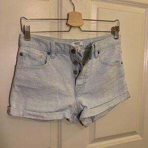 high waisted light washed shorts